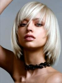 Young Fashion Platinum Blonde Medium Long Bob Straight Lace Front Wigs