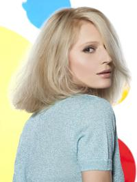 Young Fashion Long Bobs Platinum Blonde Full Lace Human Wigs