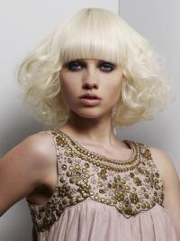 Young Fashion Platinum Blonde Beautiful Chin Length Wavy Full Lace Wigs