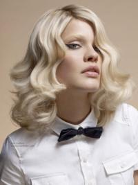 Young Fashion New Arrived Platinum Blonde Wavy Elegent Full Lace Synthetic Wigs