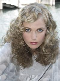 Young Fashion Grey Shoulder Length Curly Lace Front Human Wigs