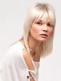 Young Fashion Platinum Blonde With Bangs Shoulder Length Straight Lace Front Wigs