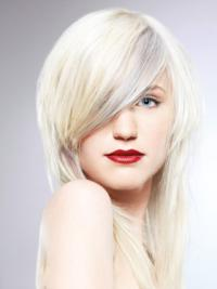 Young Fashion Platinum Blonde With Side Bangs Shoulder Length Lace Front Wigs