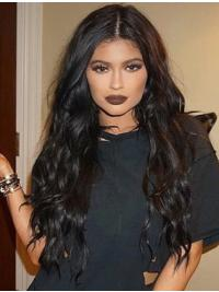 Gorgeous Long Curly Black Without Bangs Kylie Jenner Inspired Wigs
