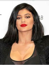 Affordable Shoulder Length Straight Black Bobs Kylie Jenner Inspired Wigs