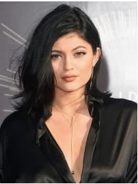 Gorgeous Shoulder Length Wavy Black Layered Kylie Jenner Inspired Wigs