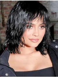 """9"""" Curly Black Synthetic Lace Front Medium Layered Wigs"""