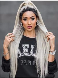 """38"""" Lace Front Grey Long Synthetic Without Bangs Wigs"""