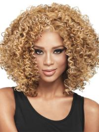 Comfortable Blonde Curly Shoulder Length Wigs