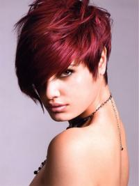 Short Red Straight Lace Front Human Wigs